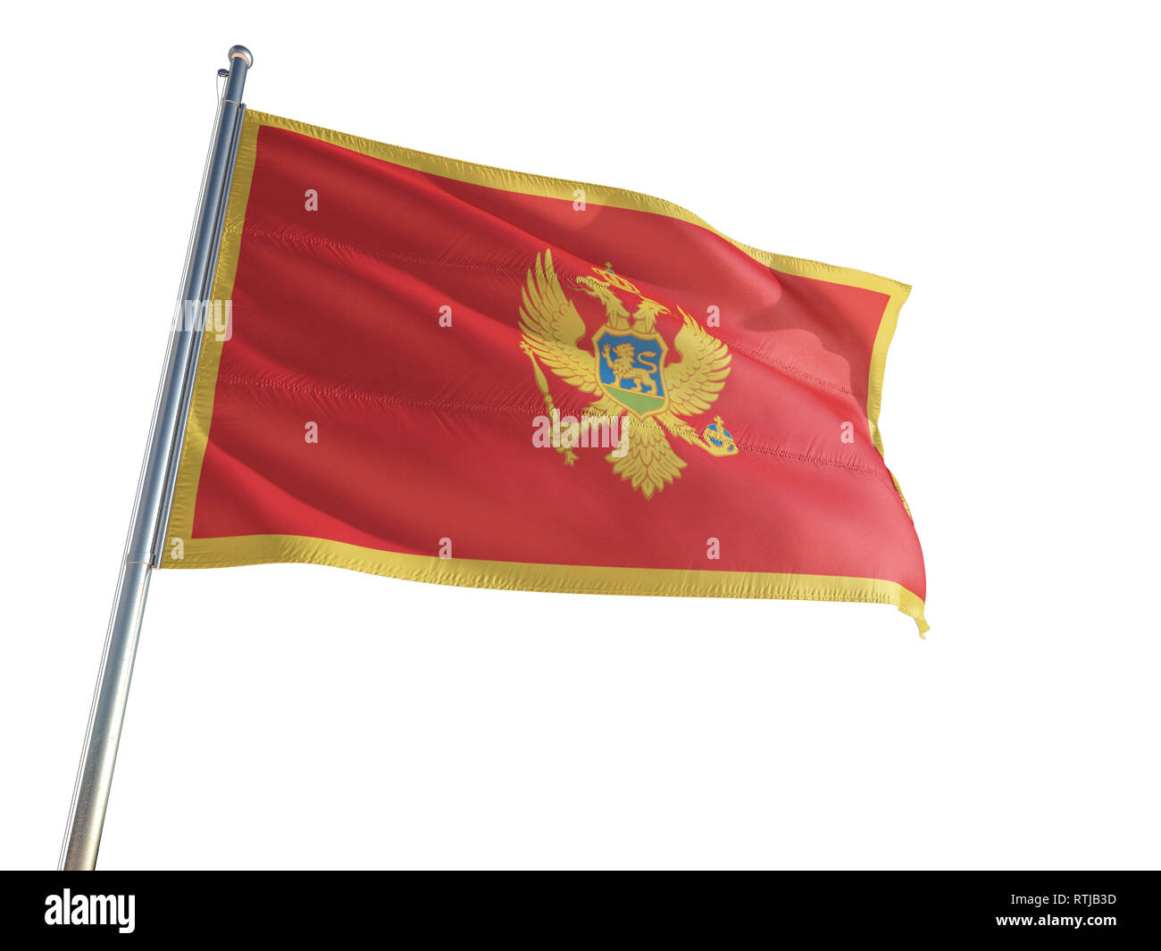 Montenegro National Flag waving in the wind, isolated white background. High Definition Stock Photo