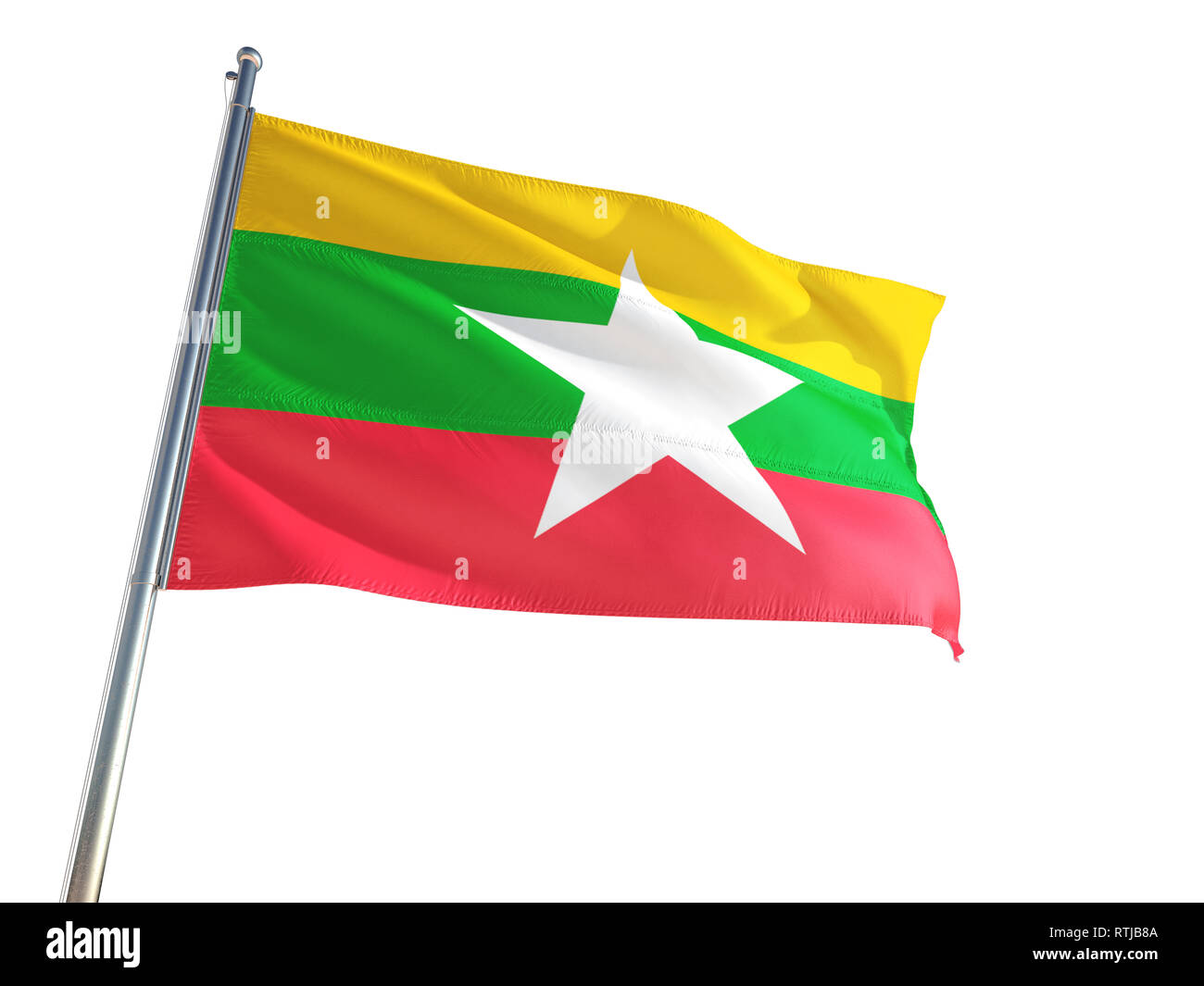 Myanmar - Burma National Flag waving in the wind, isolated white background. High Definition - Stock Image