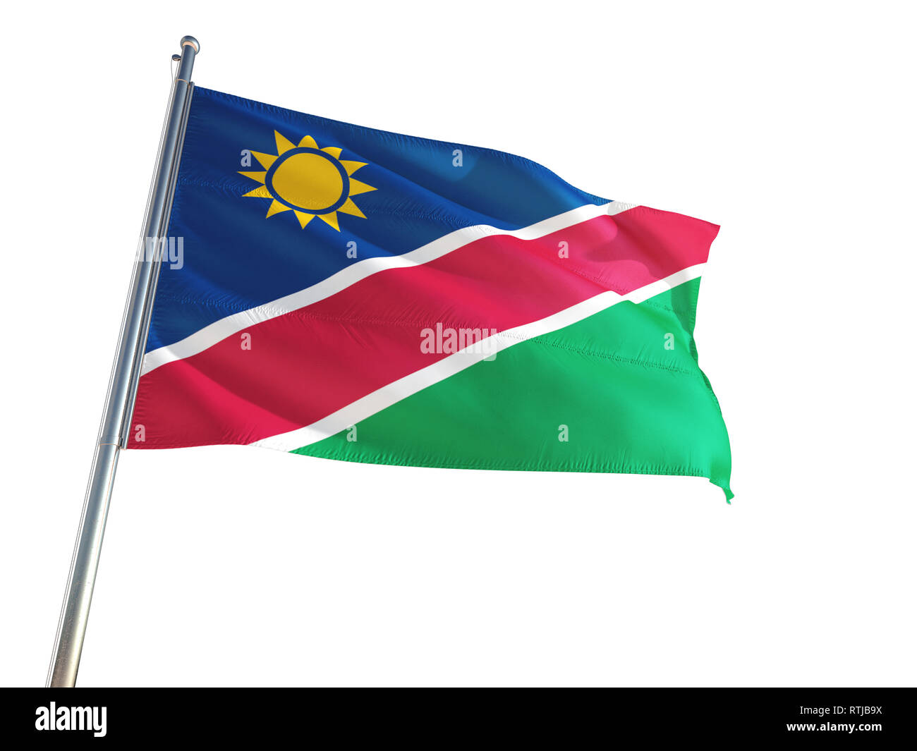Namibia National Flag waving in the wind, isolated white background. High Definition - Stock Image