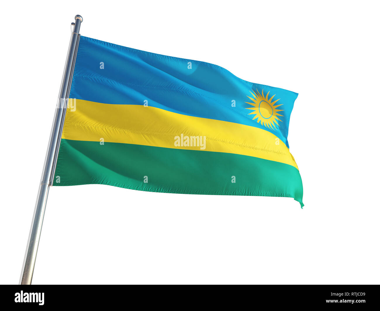 Rwanda National Flag waving in the wind, isolated white background. High Definition - Stock Image