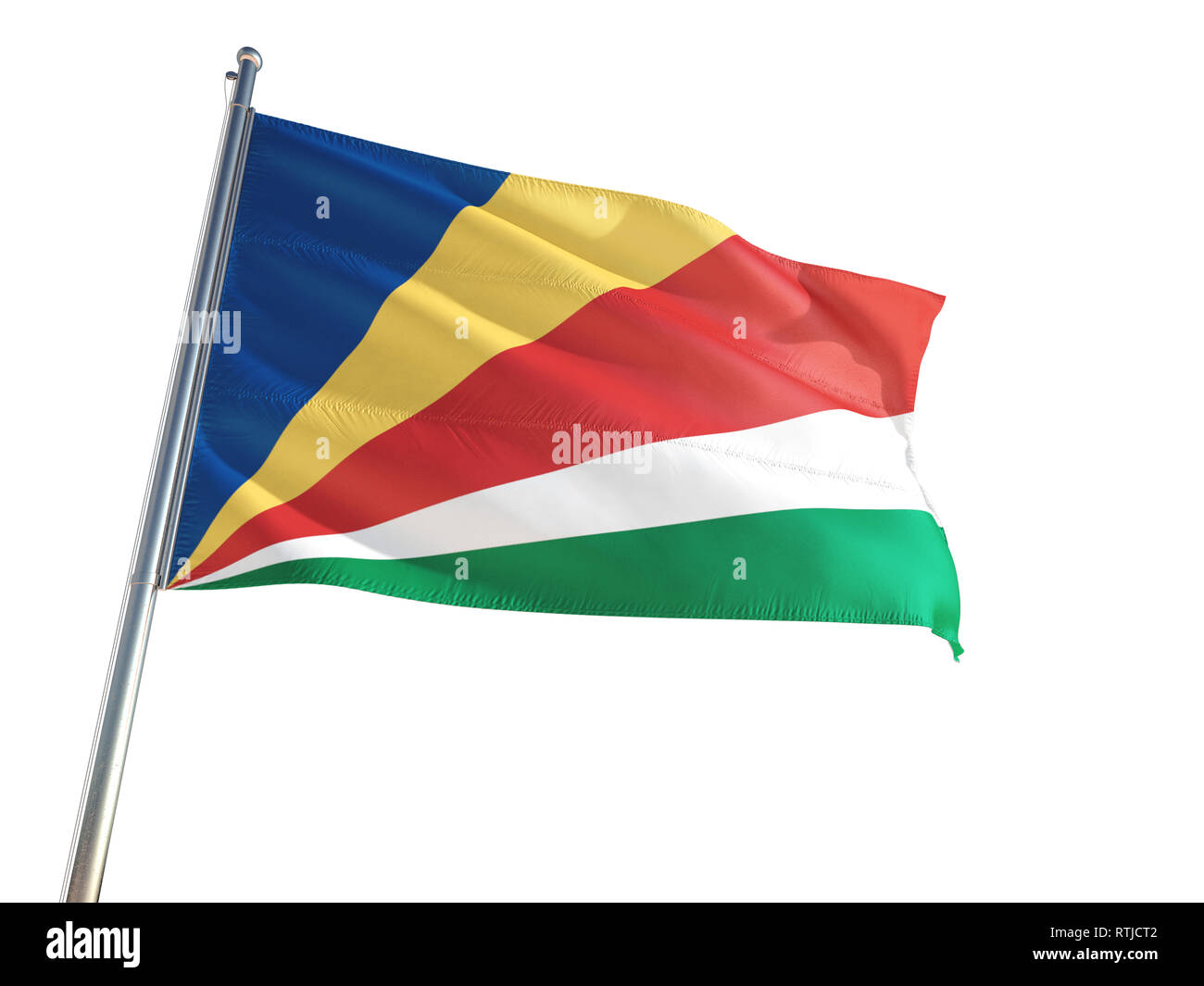 Seychelles National Flag waving in the wind, isolated white background. High Definition - Stock Image