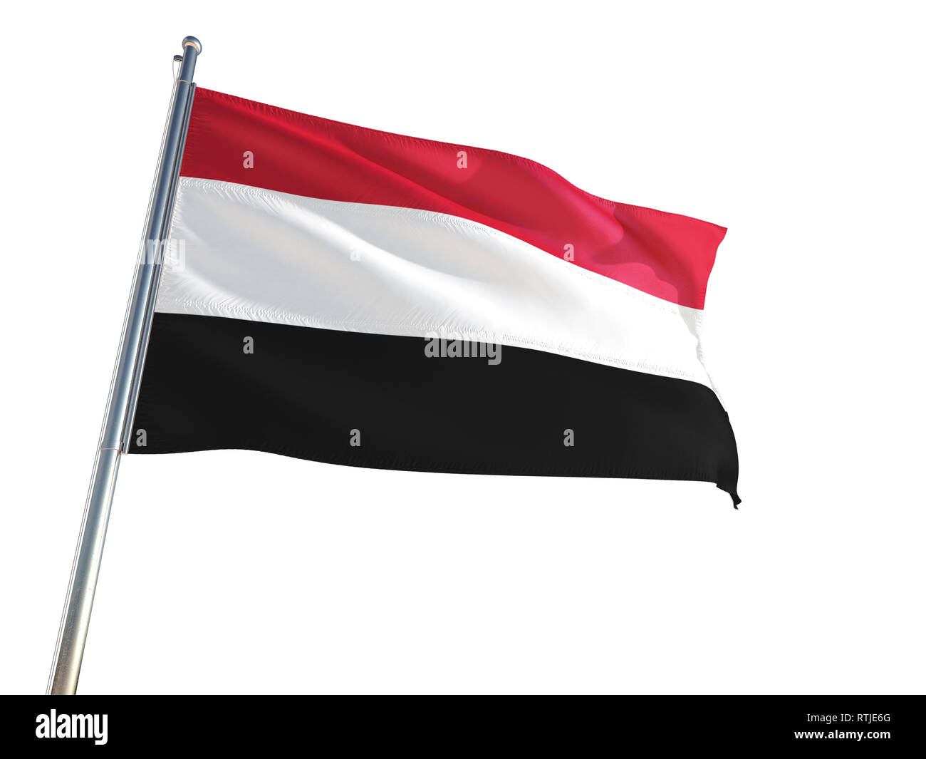 Yemen National Flag waving in the wind, isolated white background. High Definition - Stock Image