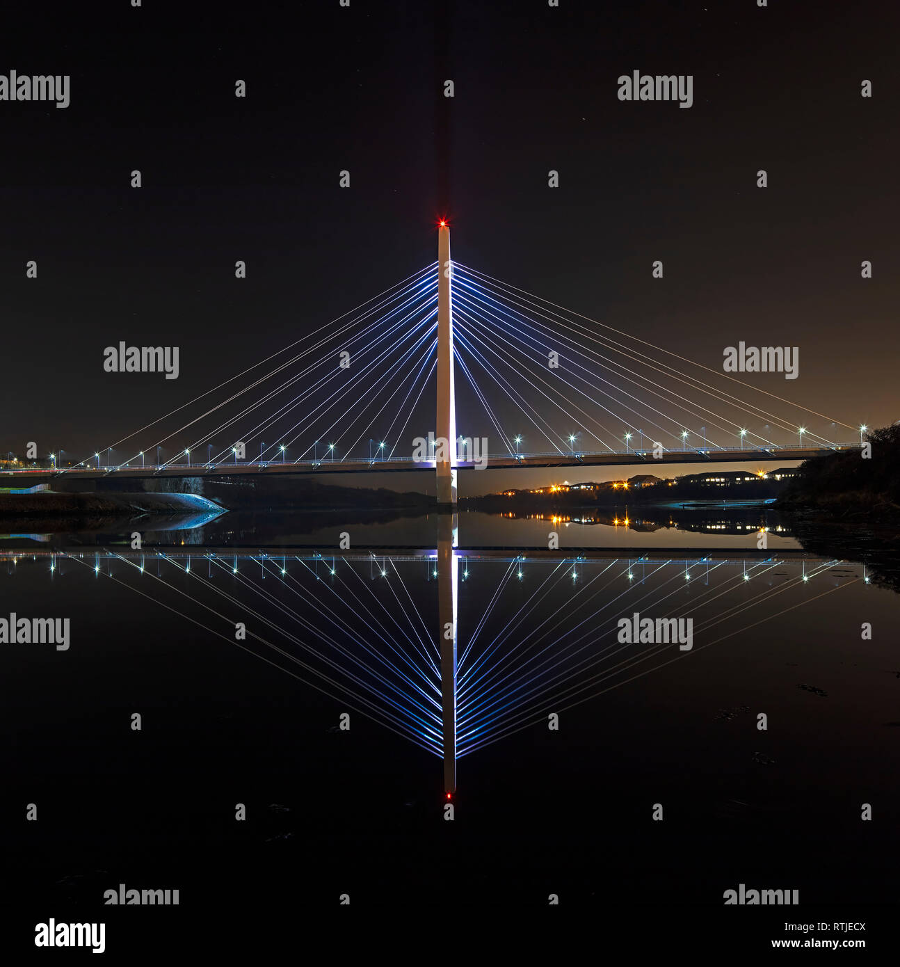 Northern Spire at night, Sunderland, Tyne & Wear, England, United Kingdom - Stock Image