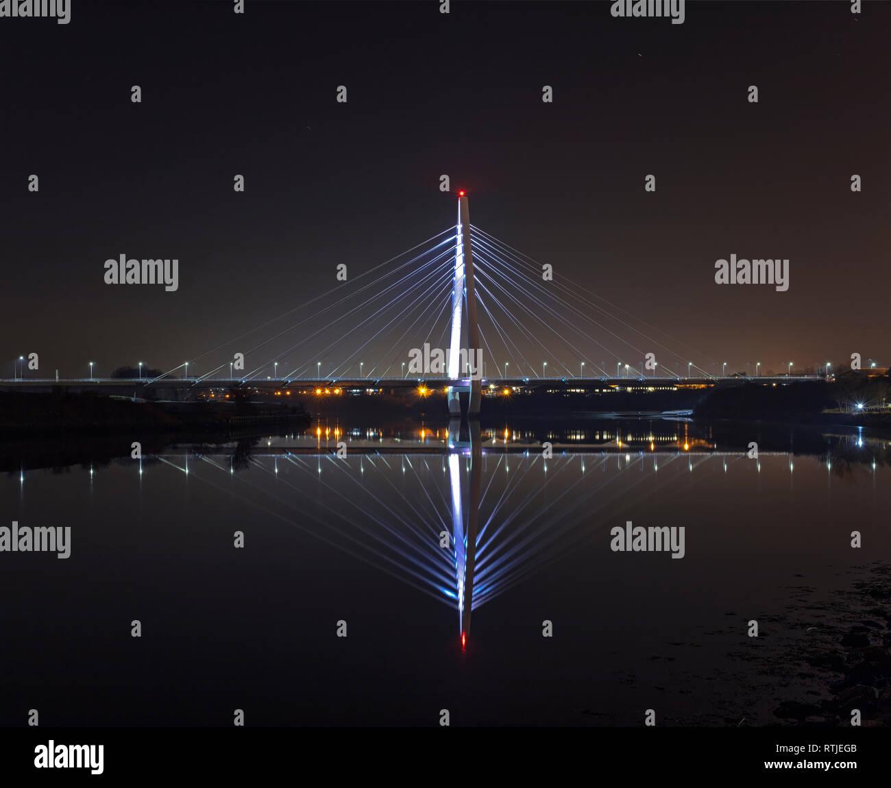 Northern Spire at night, Sunderland, Tyne & Wear, England, United Kingdom - Stock Image