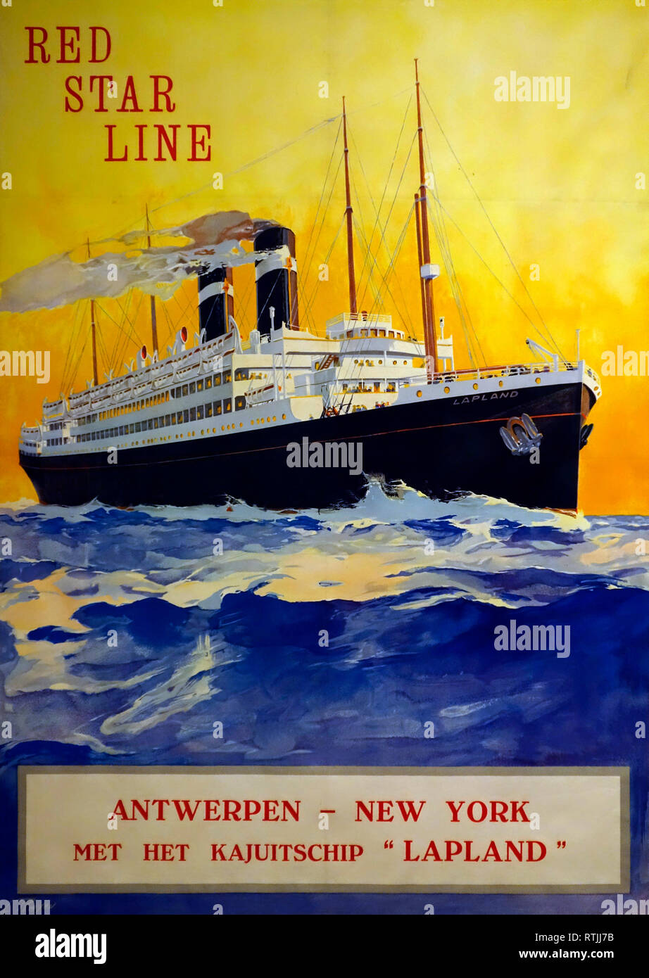 1920 vintage poster of the Red Star Line showing the SS Lapland passenger ship sailing under Belgian flag between Antwerp, Belgium and New York, USA Stock Photo