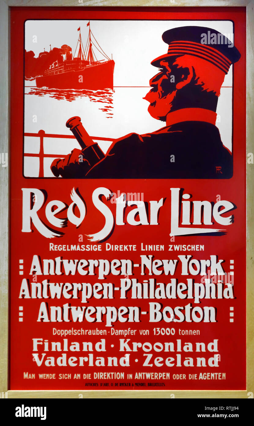 19th century vintage poster of the Red Star Line advertising crossings under Belgian flag between Antwerp and the United States Stock Photo