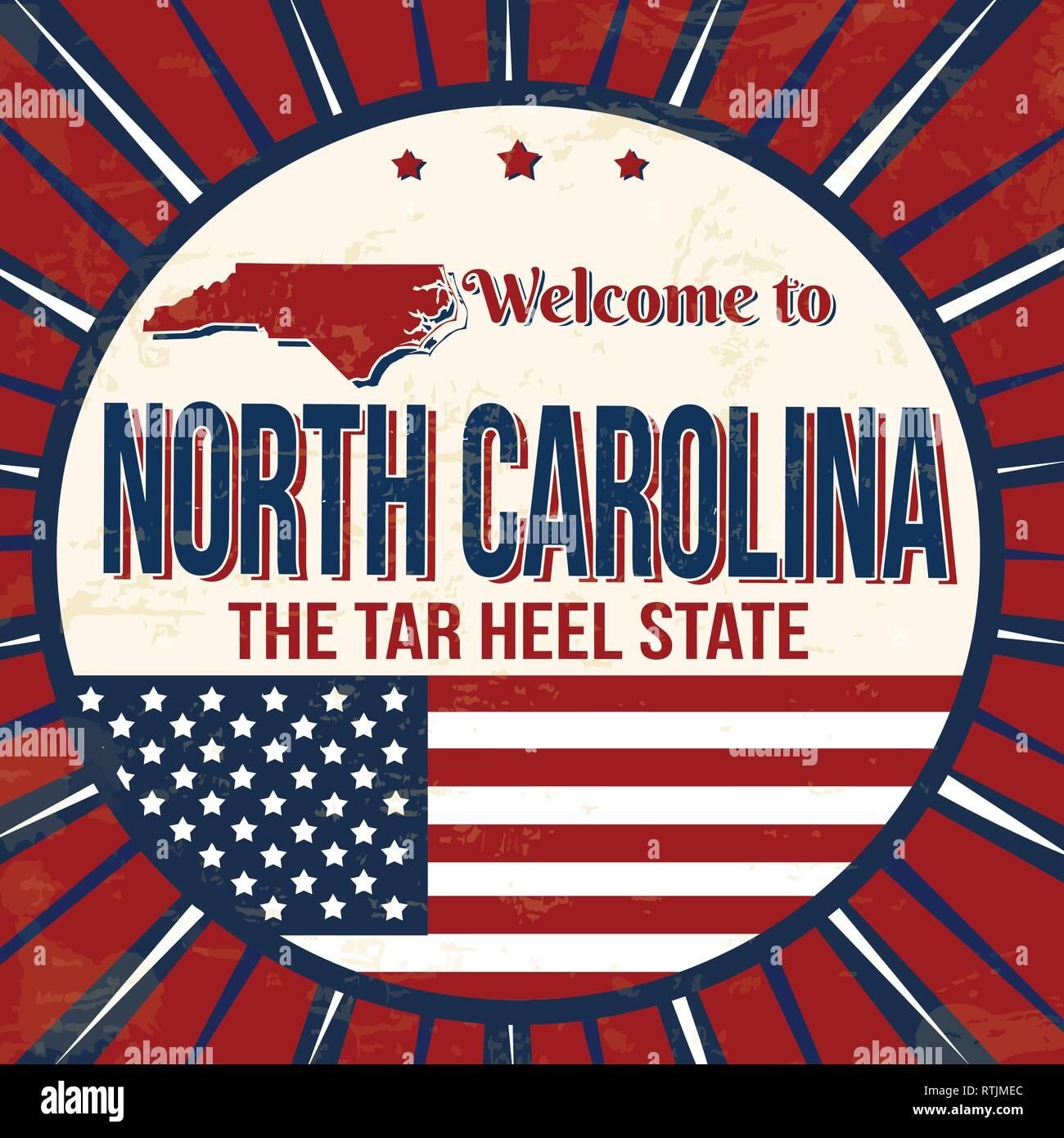 Welcome to North Carolina vintage grunge poster, vector illustration Stock Vector
