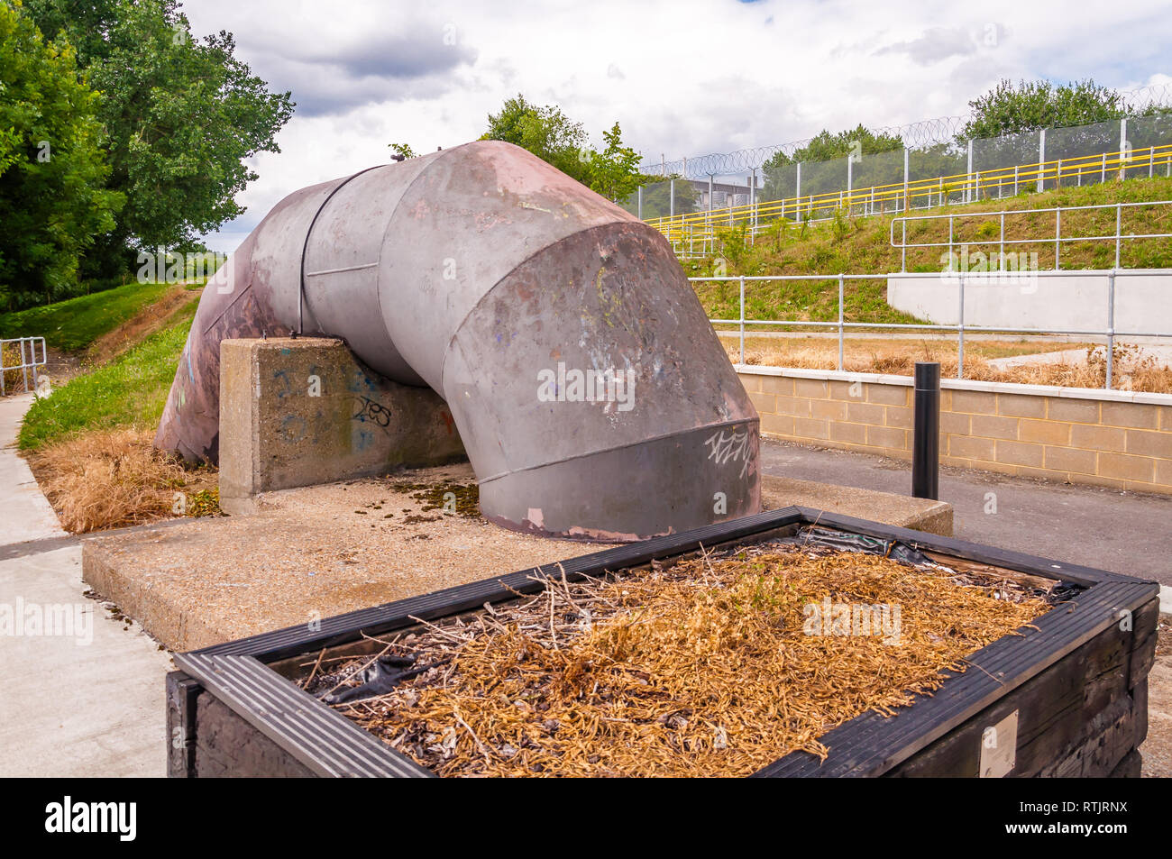 Booster Pump,Greenways, near Abbey Mills Pumping Station, Stratford, London, England, Uk - Stock Image