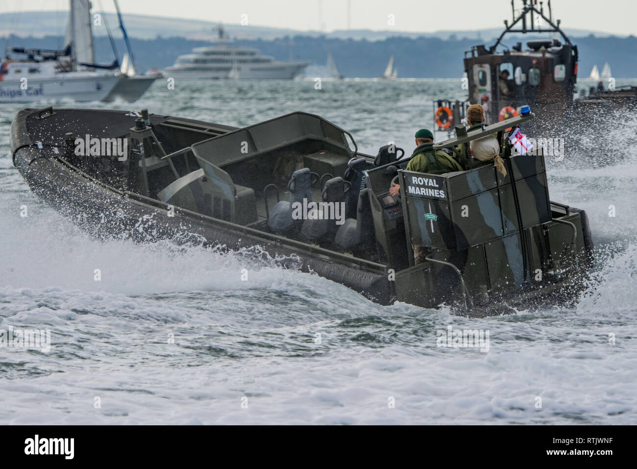 Royal Marines Offshore Raiding Craft Orc At Speed To Provide