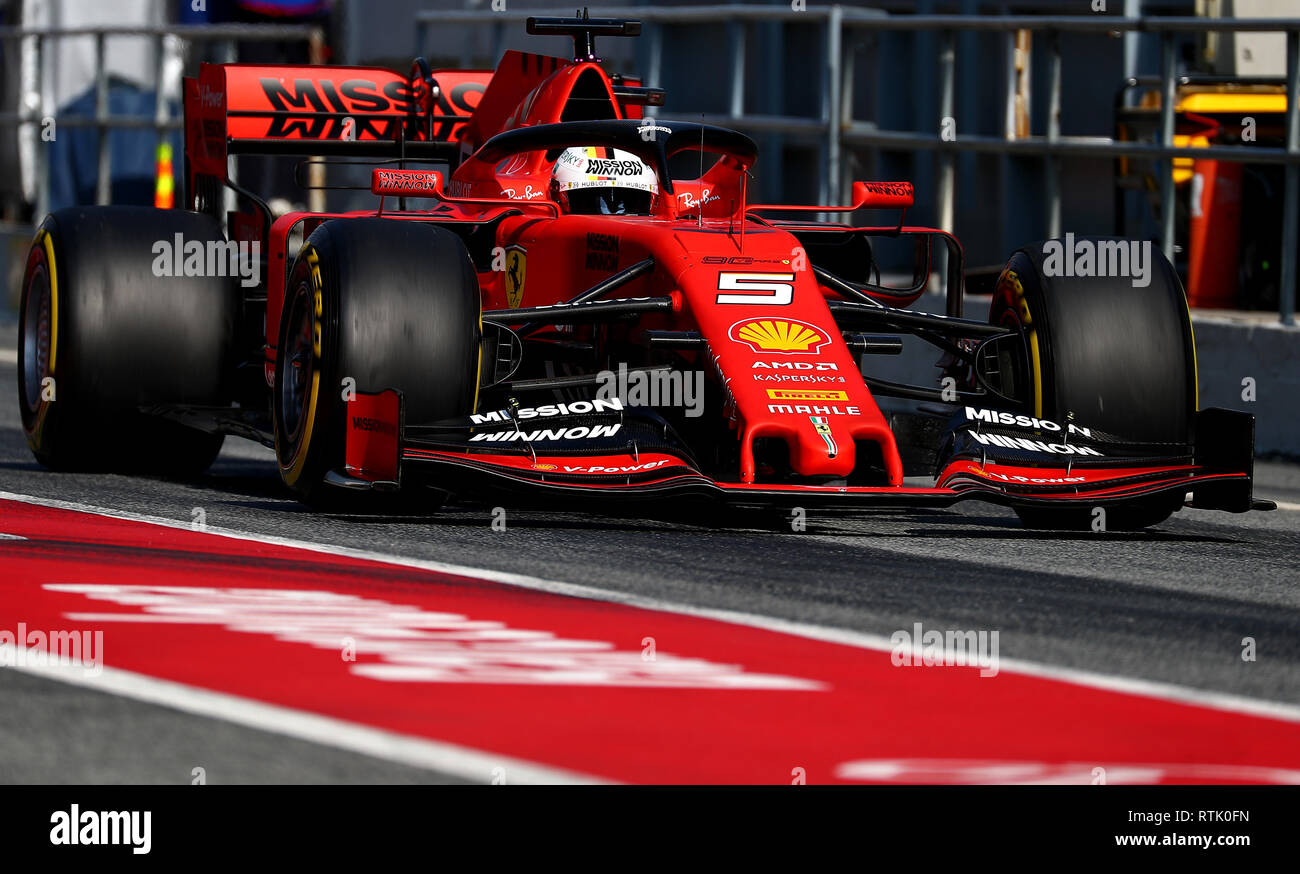 Barcelona, Spain  1st March, 2019  #05 Sebastian Vettel, Scuderia