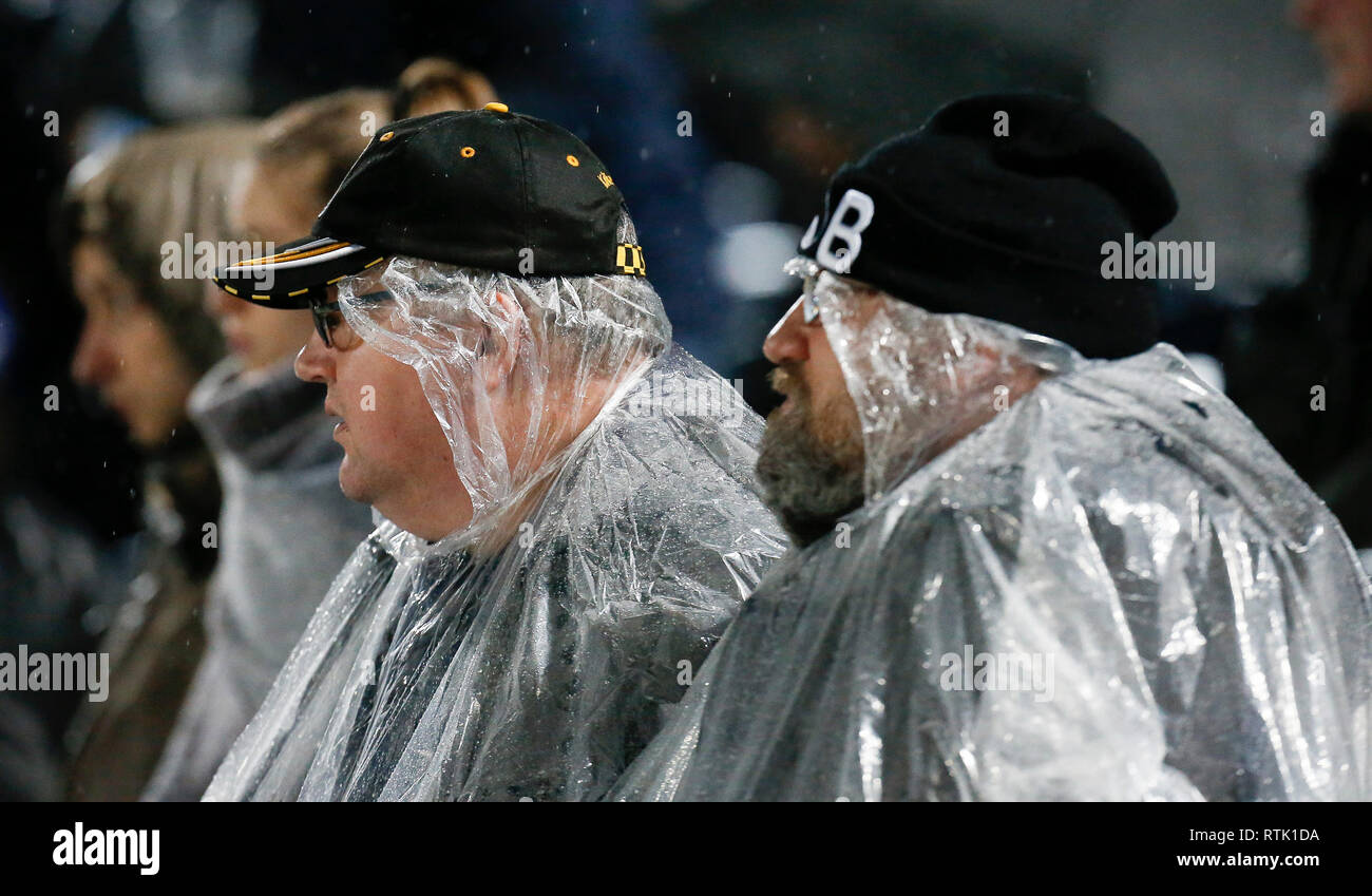RDS Arena, Dublin, Ireland. 1st Mar, 2019. Guinness Pro14 rugby, Leinster versus Cheetahs; Rugby fans wearing fulllength plastic ponchos against the bad weather conditions Credit: Action Plus Sports/Alamy Live News - Stock Image