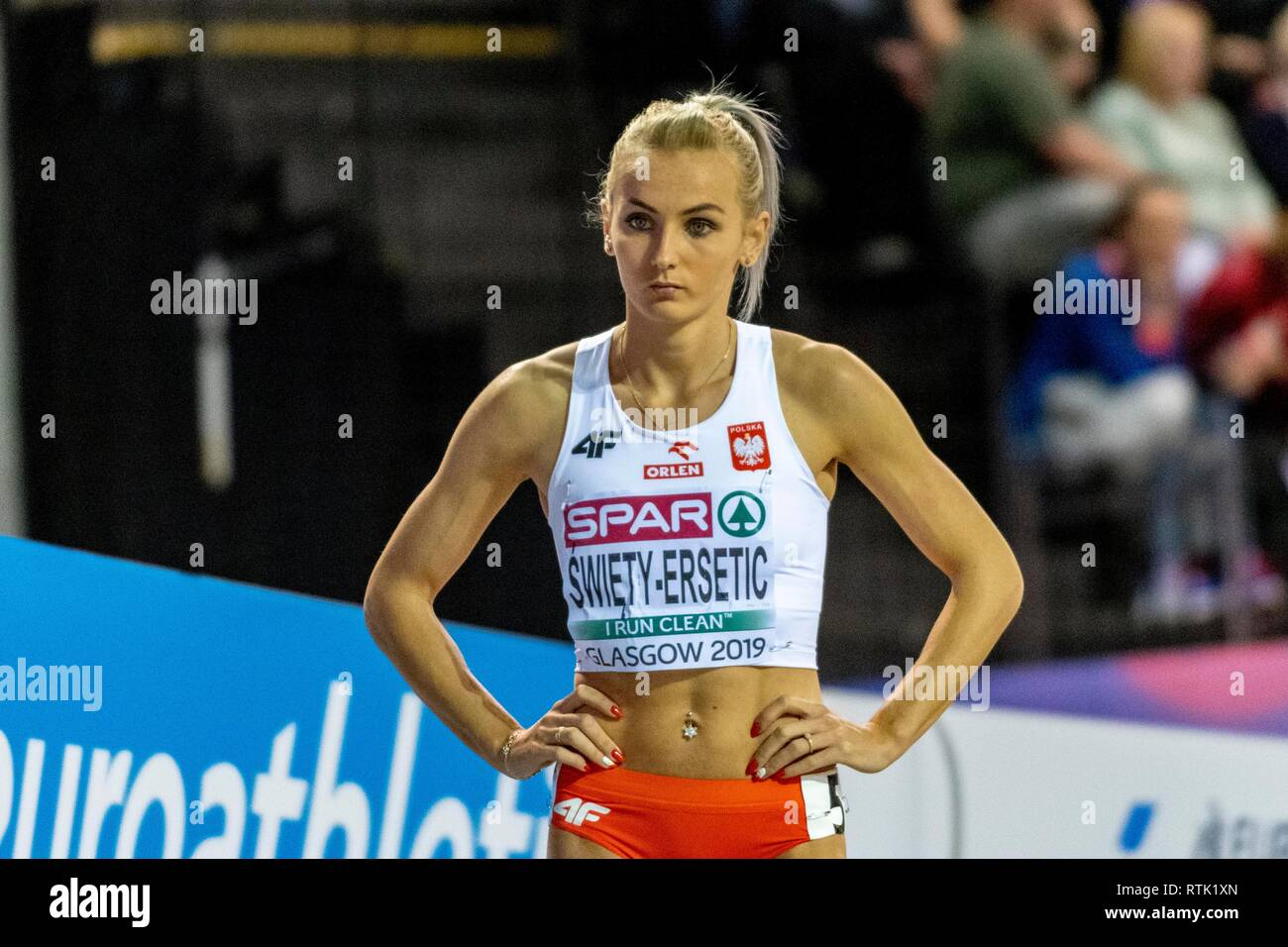 Glasgow, UK. 01st Mar, 2019. SWIETY-ERSETIC Justyna POL competing in the 400m Women event during day ONE of the European Athletics Indoor Championships 2019 at Emirates Arena in Glasgow, Scotland, United Kingdom. 1.03.2019 Credit: Cronos/Alamy Live News - Stock Image