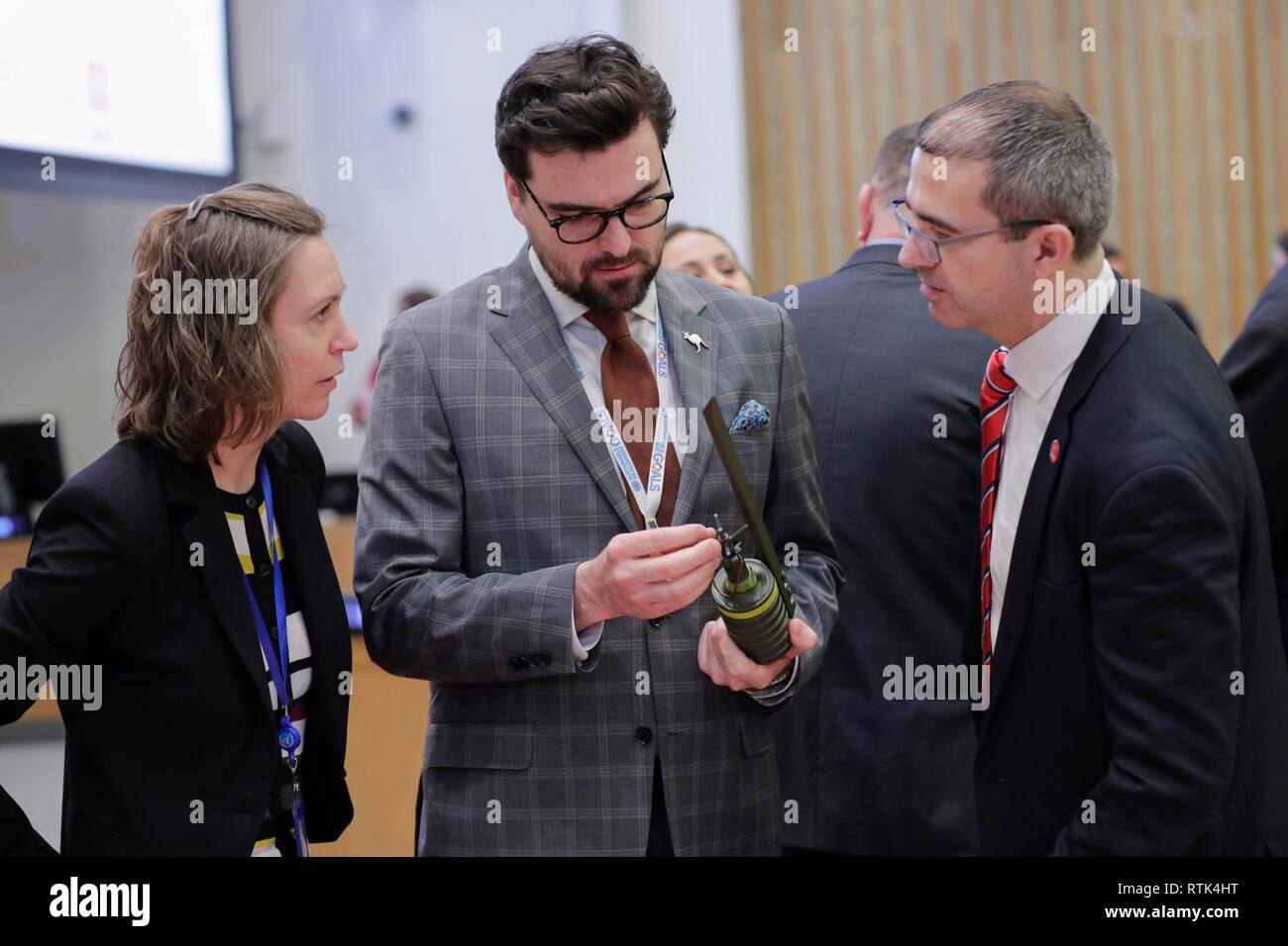 "United Nations, New York, USA, March 01, 2019 - Delegates speak with staff members from the United Nations Mine Action Service (UNMAS) at the event ""A World Free of Mines: For a Safer Tomorrow"" on the occasion of the 20th Anniversary of the entry into force of the Mine Ban Treaty today at the UN Headquarters in New York. Photo: Luiz Rampelotto/EuropaNewswire 