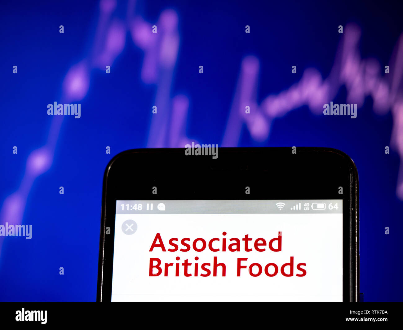 Kiev, Ukraine. 28th Feb, 2019. Associated British Foods plc logo seen displayed on a smart phone. Credit: Igor Golovniov/SOPA Images/ZUMA Wire/Alamy Live News - Stock Image