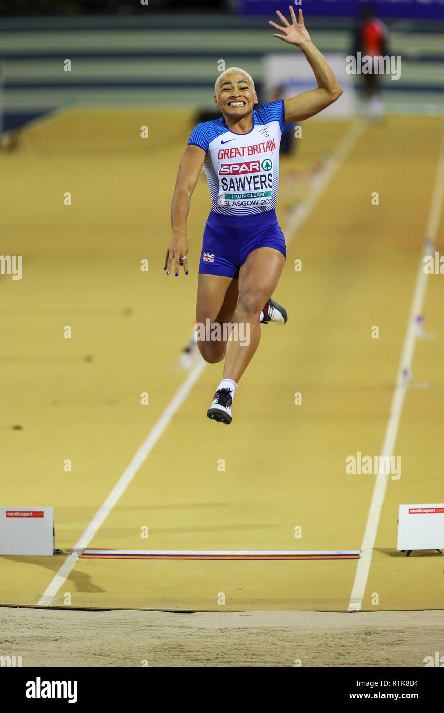 Glasgow, Scotland, UK. 2nd March, 2019.  JAZMIN SAWYERS, representing Great Britain and Northern Ireland competing in the qualifying rounds of the Women's long jump at the European Athletics indoor championships, held at the Emirates arena, Glasgow, UK Credit: Findlay/Alamy Live News - Stock Image