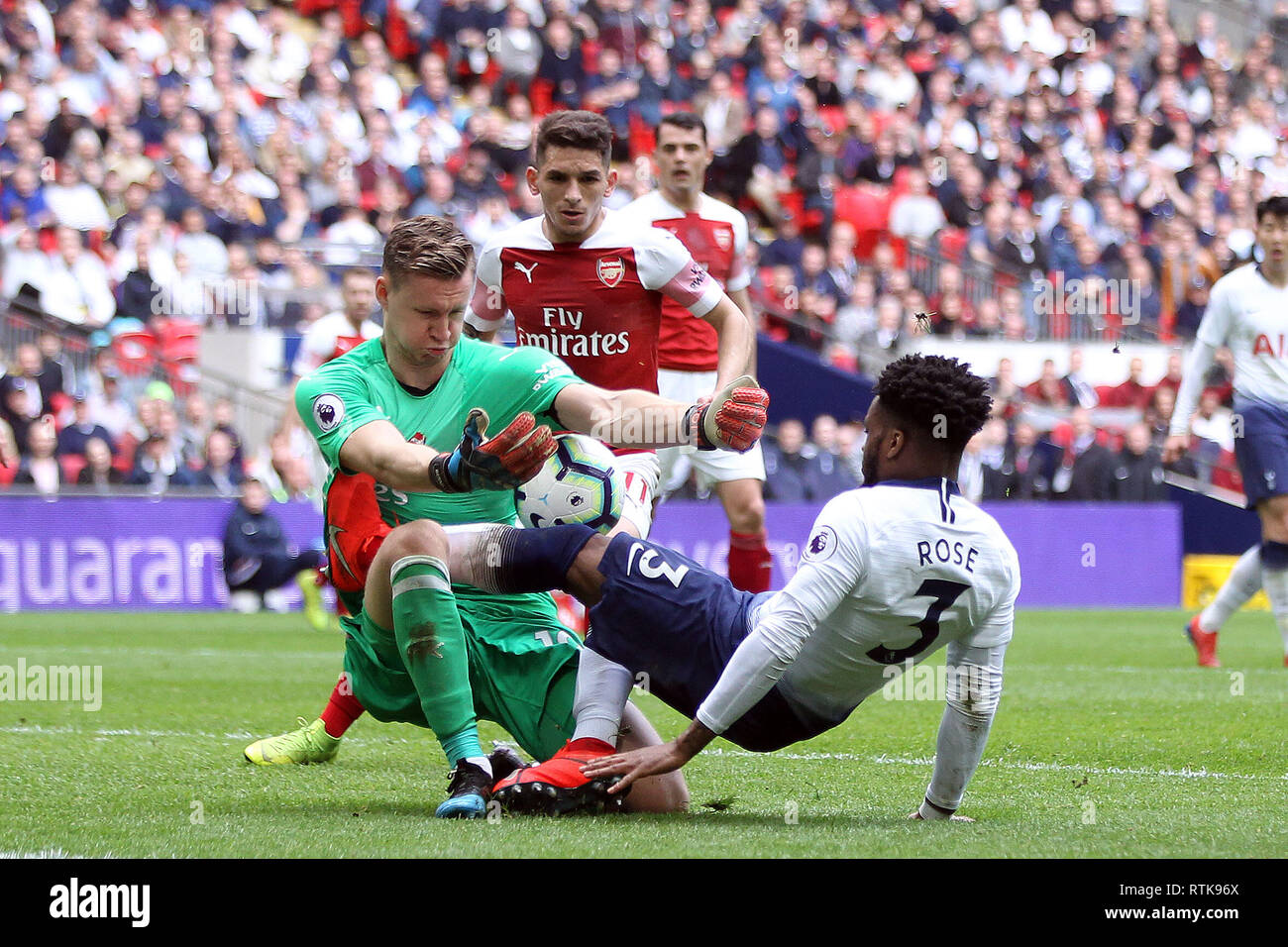 Danny Rose Of Tottenham Hotspur R Fouls Bernd Leno The Goalkeeper Of Arsenal L Epl Premier