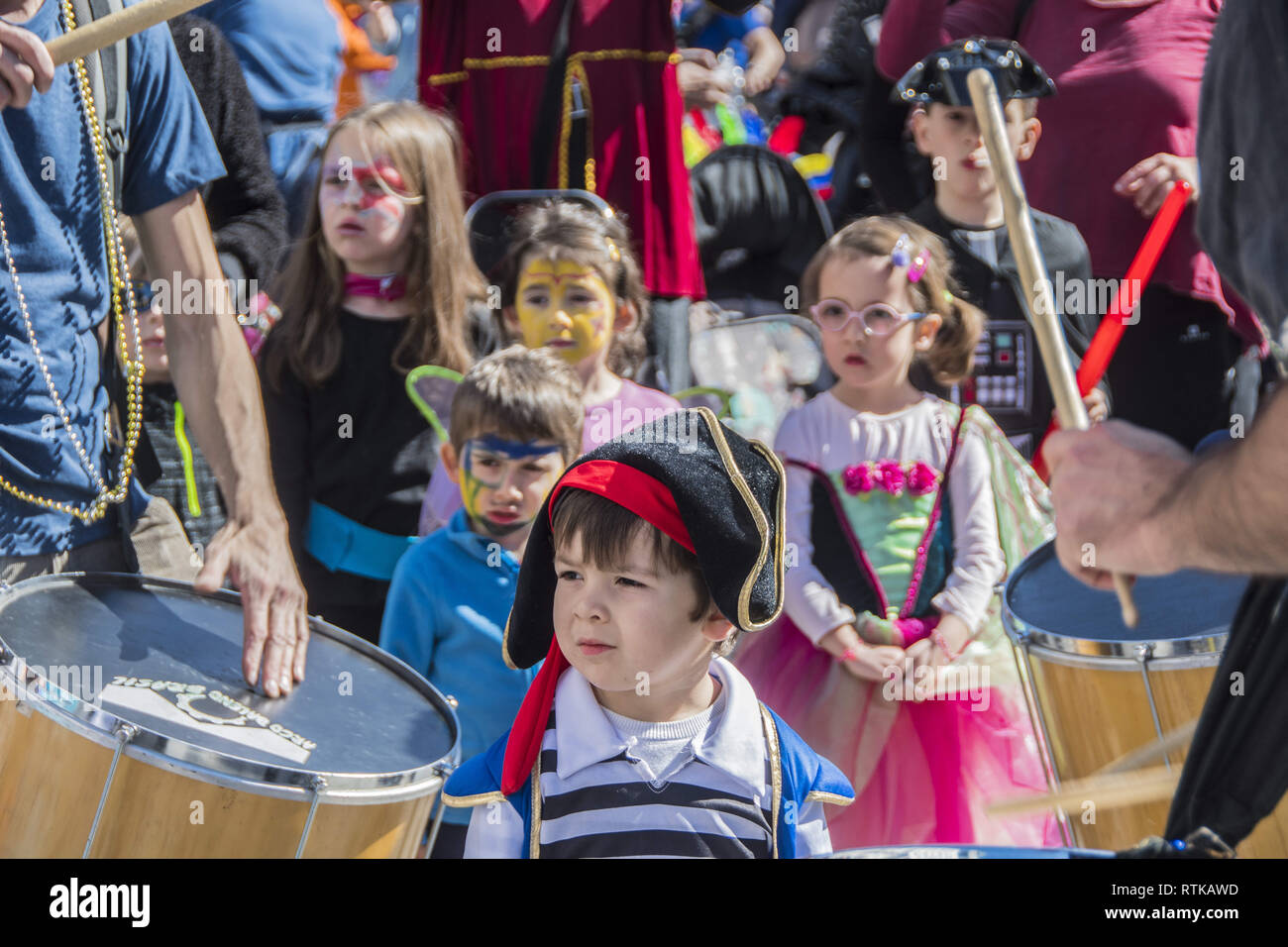 Madrid, Madrid, Spain  2nd Mar, 2019  Children are seen listening to