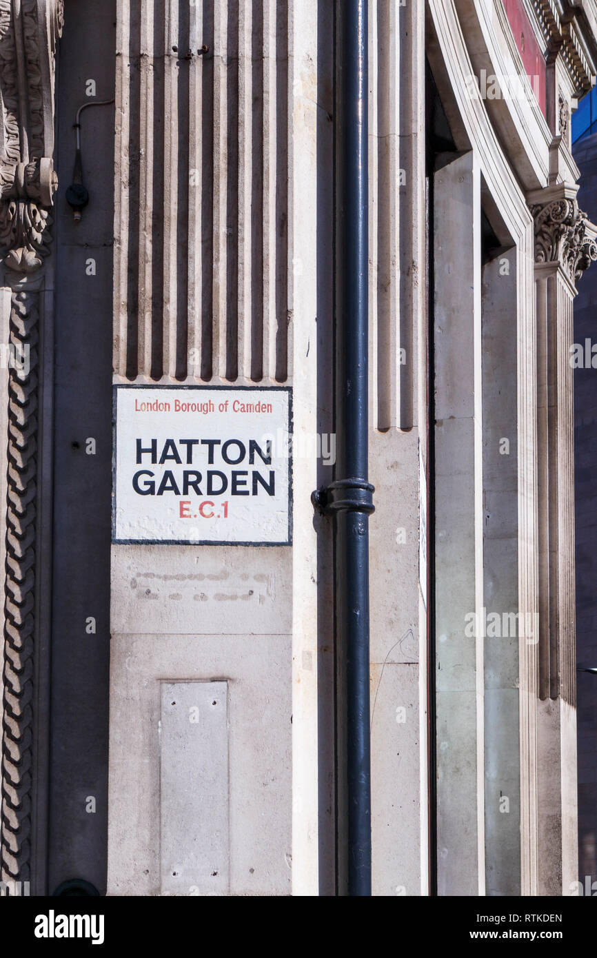 Painted street name sign at Hatton Garden, London Borough of Camden, EC1, London's jewellery quarter and centre of the UK diamond trade Stock Photo