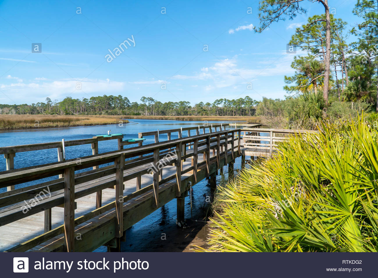 Dock at Faver-Dykes State Park near St Augustine, Florida USA Stock Photo