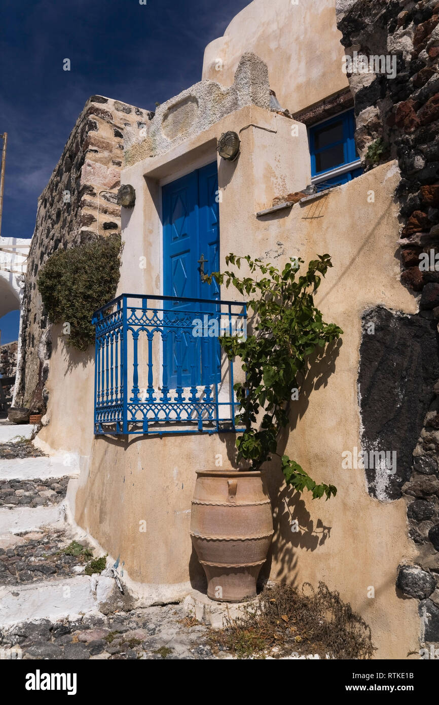 Traditional Greek architectural style building in Pyrgos village, Santorini, Greece Stock Photo