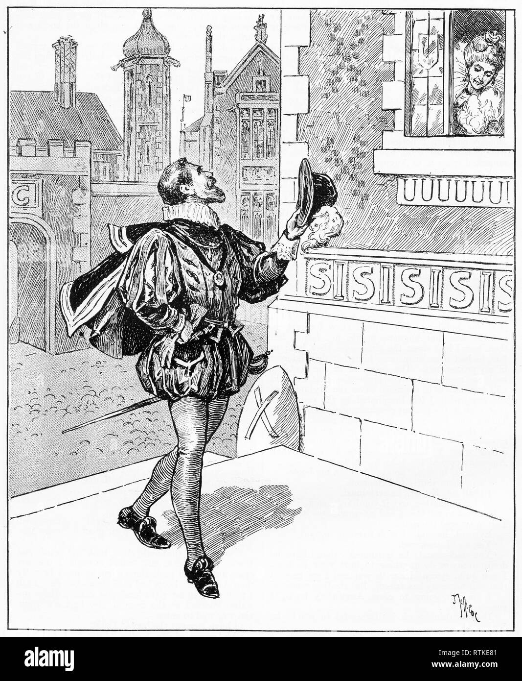 Engraving of a woman looking out her window to a male suitor in the street. From Chatterbox magazine, 1905 Stock Photo