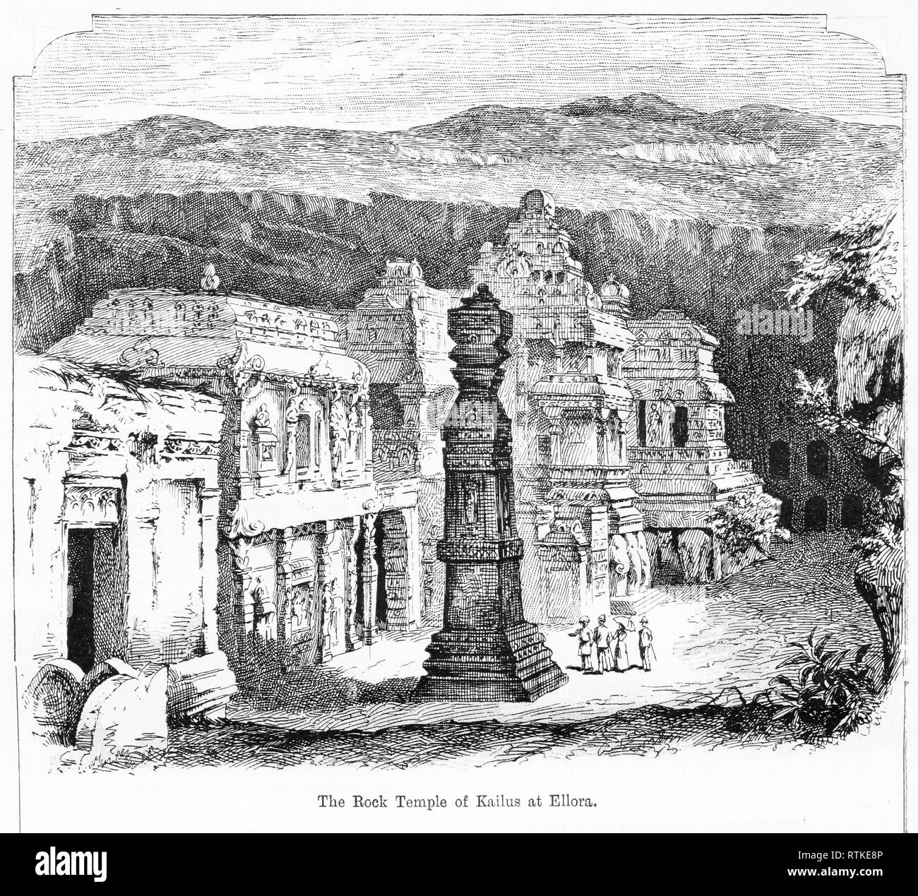Engraving of the Hindu Kailasa Temple in Ellera, Carved to represent Mt. Kailasa, the home of the god Shiva in the Himalayas. It is the largest monolithic structure in the world, carved top-down from a single rock. From Chatterbox magazine, 1905 - Stock Image