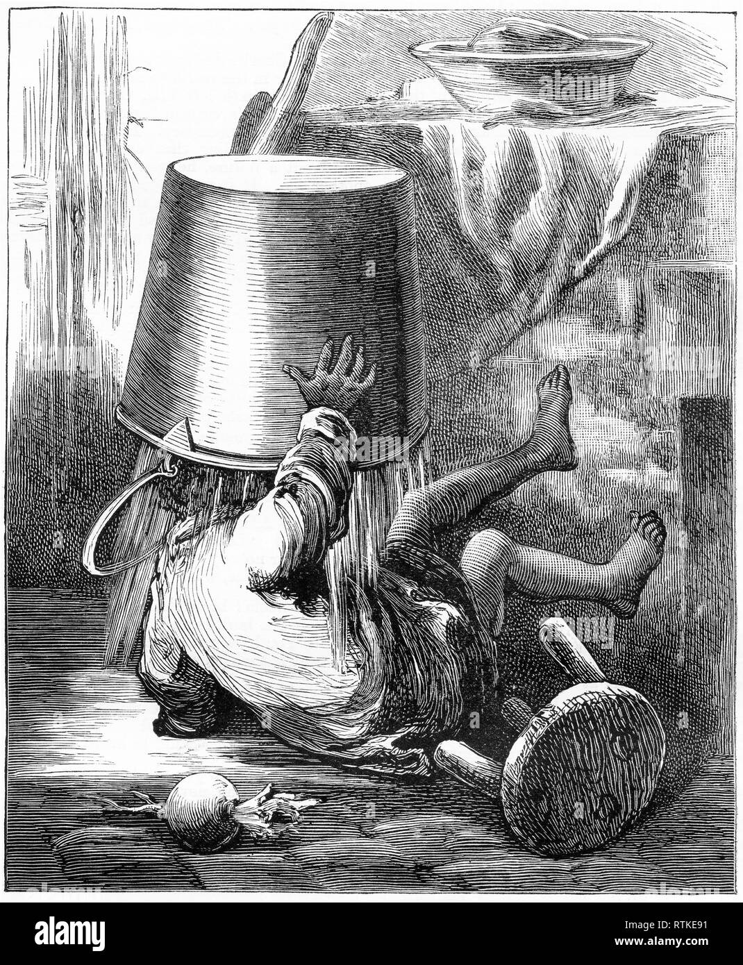 Engraving of a toddler falling on the floor, with a bucket of water upended on his head. From Chatterbox magazine, 1905 - Stock Image