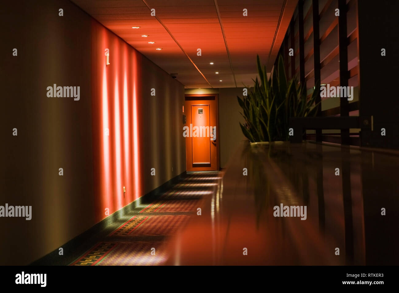 Illuminated hallway and hotel room door in the inner courtyard of the Sofitel hotel, Budapest, Hungary, Eastern Europe - Stock Image