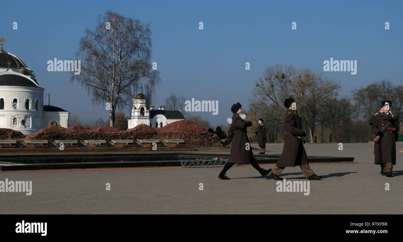 Belarusian Guard of Honor marching in the war memorial complex 'Brest Hero Fortress' located in Brest fortress formerly known as Brest-Litovsk Fortress, a 19th-century Russian fortress in the city of Brest, Belarus - Stock Image