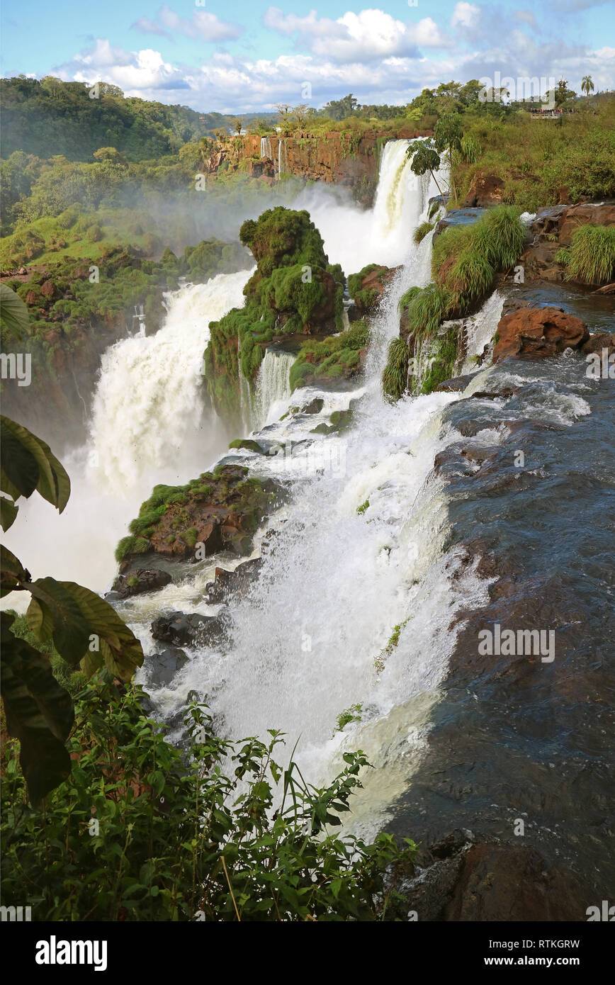 Powerful Iguazu Falls at the Argentinian Side, UNESCO World Heritage in Misiones Province of Argentina - Stock Image