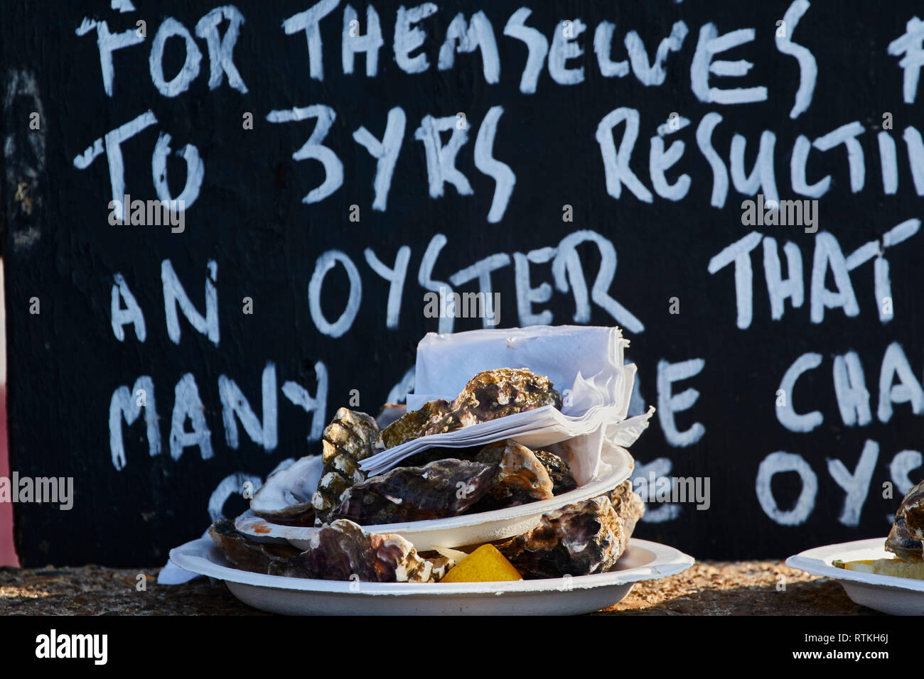 Finished Whitstable oysters against black and white sign giving their history, Kent, England, United Kingdom, Europe - Stock Image