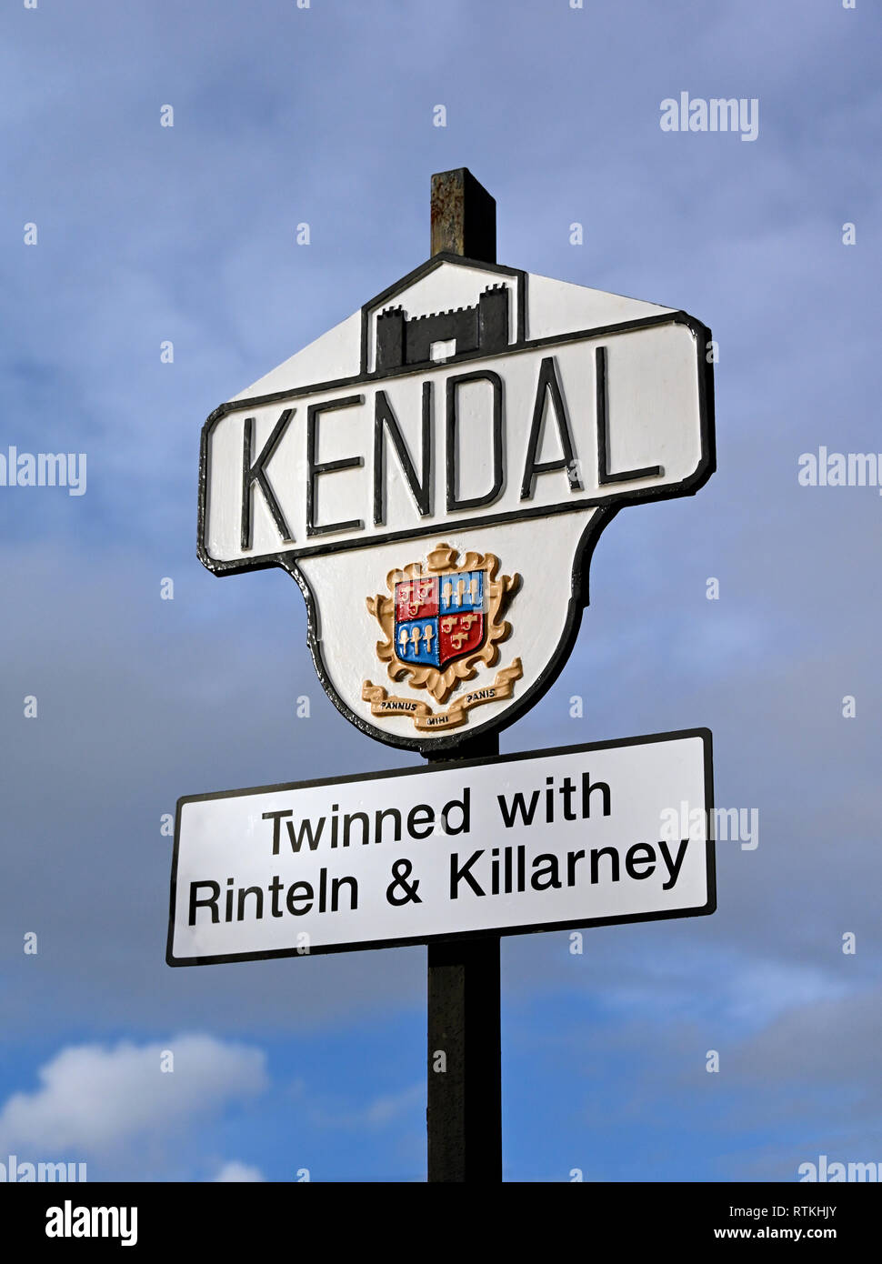 Kendal town boundary marker sign. Natland Road, Kendal, Cumbria, England, United Kingdom, Europe. Stock Photo