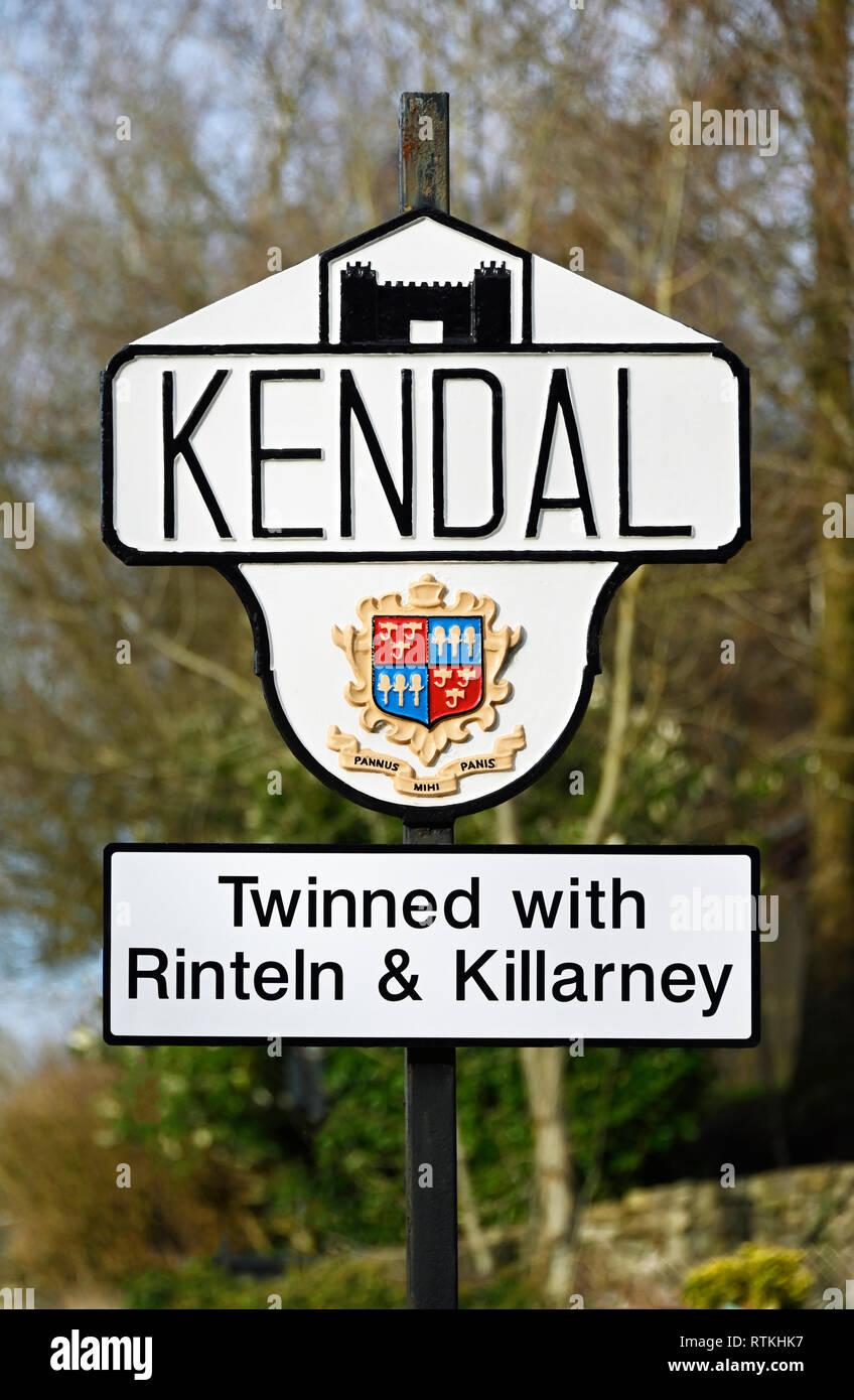 Kendal town boundary marker sign. Natland Road, Kendal, Cumbria, England, United Kingdom, Europe. Stock Photo