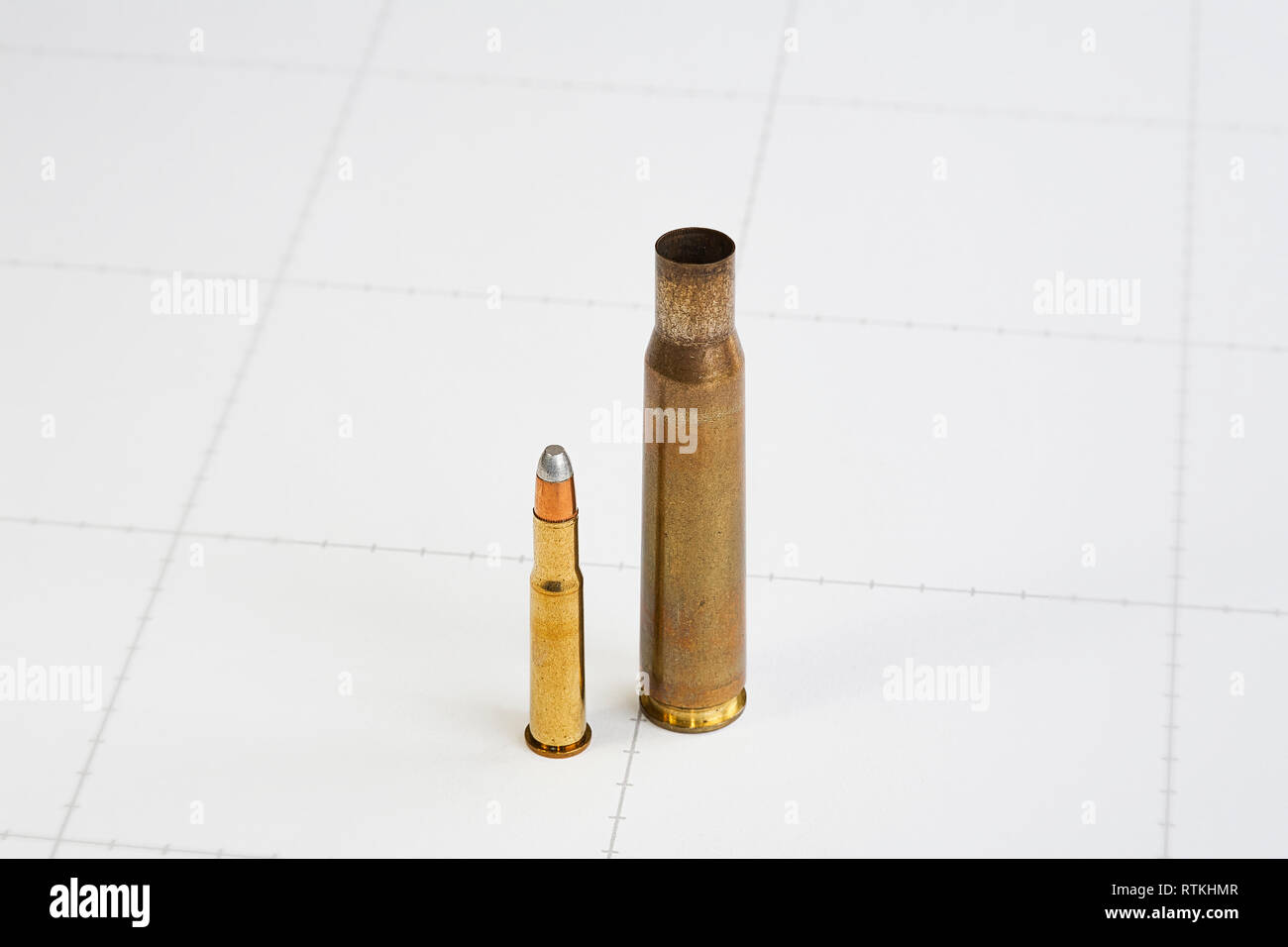 The .30-30 Winchester/.30 Winchester Centre Fire (7.62×51mmR) cartridge was first marketed in 1895 for the Winchester Model 1894 lever-action rifle. - Stock Image