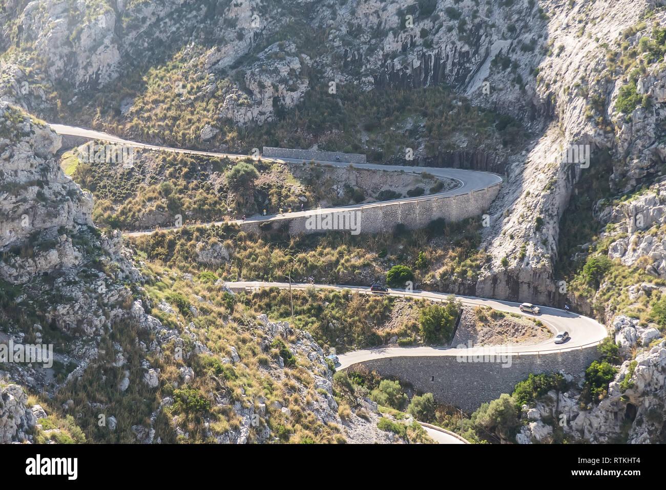 Majorca: the Carretera de Sa Calobra (Pass of the Snake/Knot of the Tie) - Stock Image