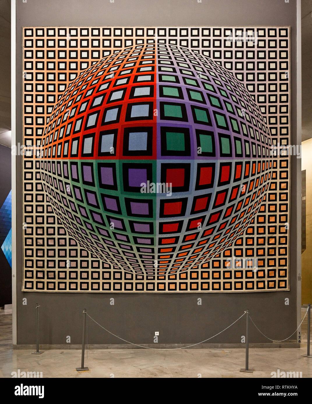 Frankr Aix-en-Provence VASARELY-Museum 60971 raumillusionistische textile Op-Art - Wandinstallation um 1975 Objekt Nr 126  6 m breit 6 m hoch - Stock Image