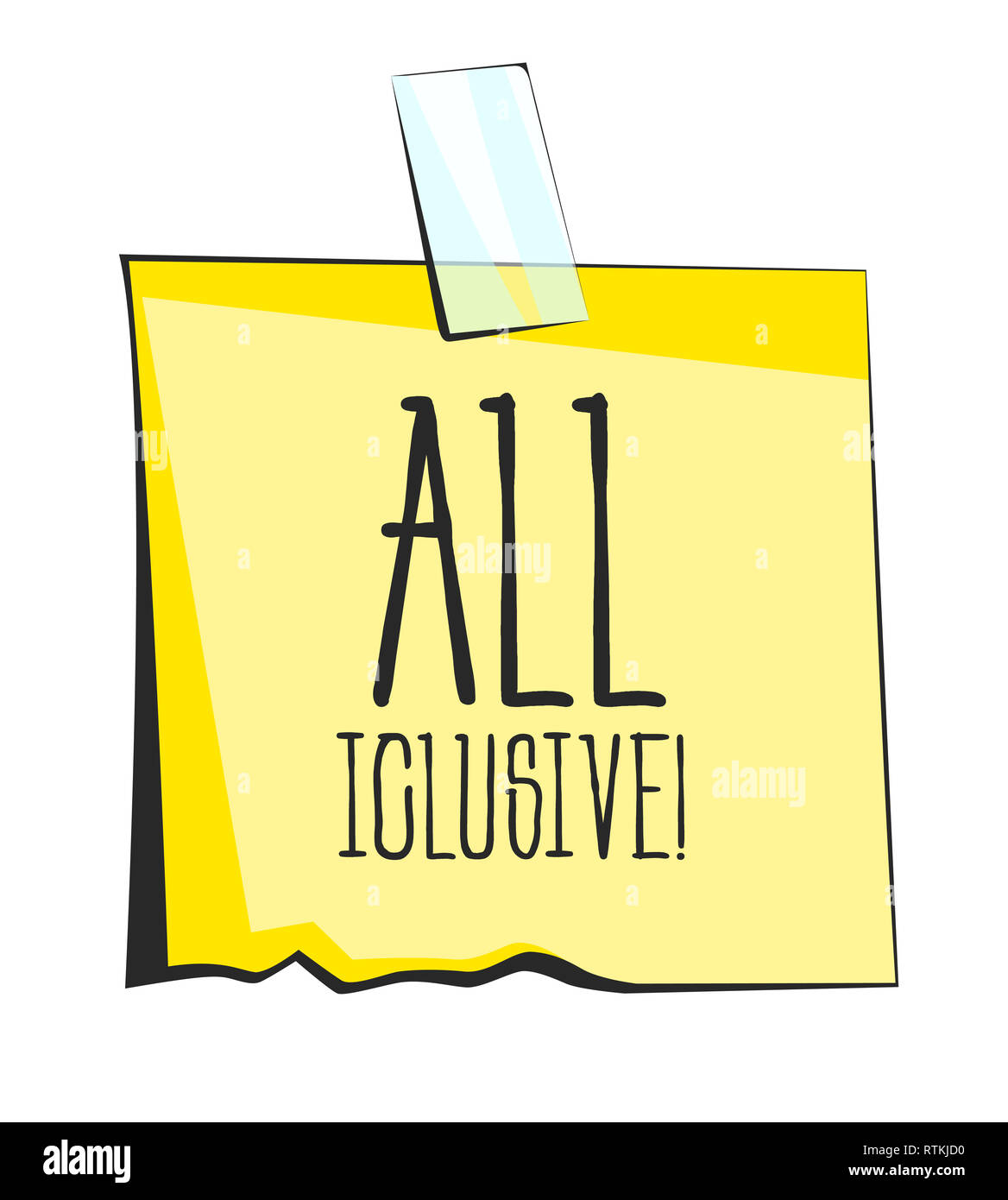 Yellow sticky note with scotch tape. All inclusive lettering. Paper reminder sticker - Stock Image