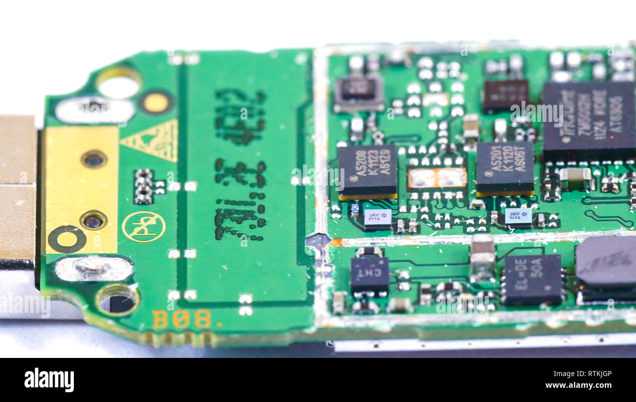 Close up look of the micro chips of a USB. On it are micro boards and micro wires - Stock Image