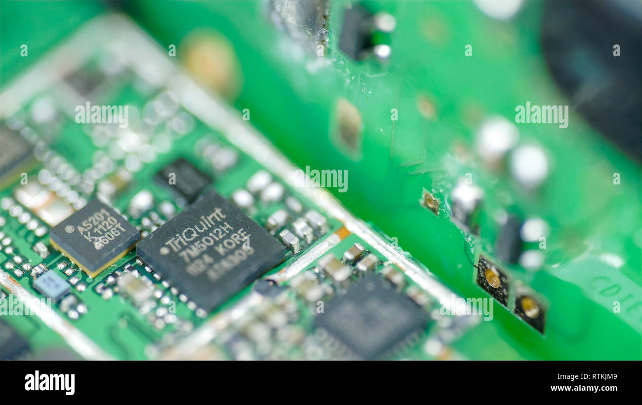 Micro chips with micro boards on it and micro circuits and wires - Stock Image
