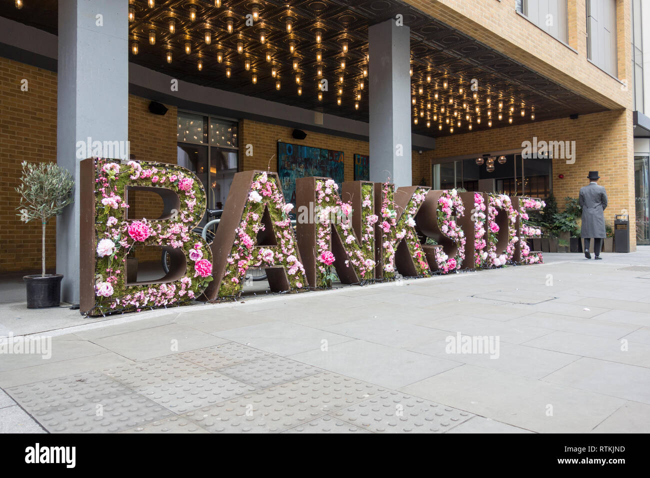 Floral display outside Hilton Hotel, Great Suffolk Street, Bankside, London, SE1, UK - Stock Image