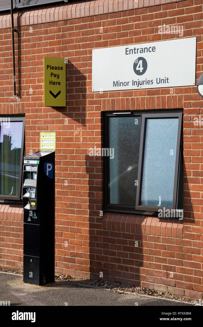 Car parking pay and display point with ticket machine in the car park at NHS Gosport War Memorial Hospital. Hampshire. UK. - Stock Image