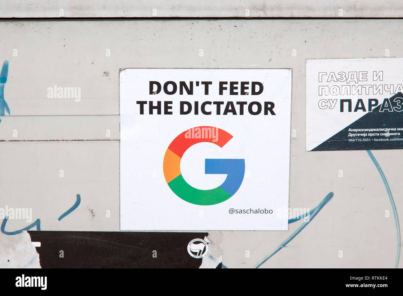 Sticker in Berlin, Don't feed the dictator, Germany - Stock Image