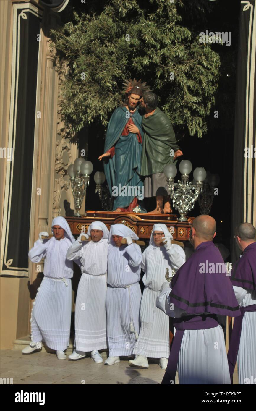 Good Friday Procession at Zejtun on the Island of Malta: 2.Statue - Kiss of Judas - Stock Image
