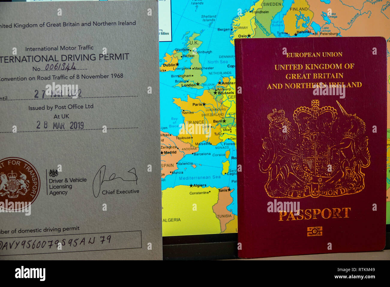 International Driving Permit - Showing the 1968 and 1949 versions of the IDP which allow you to drive in certain countries in Europe use Stock Photo