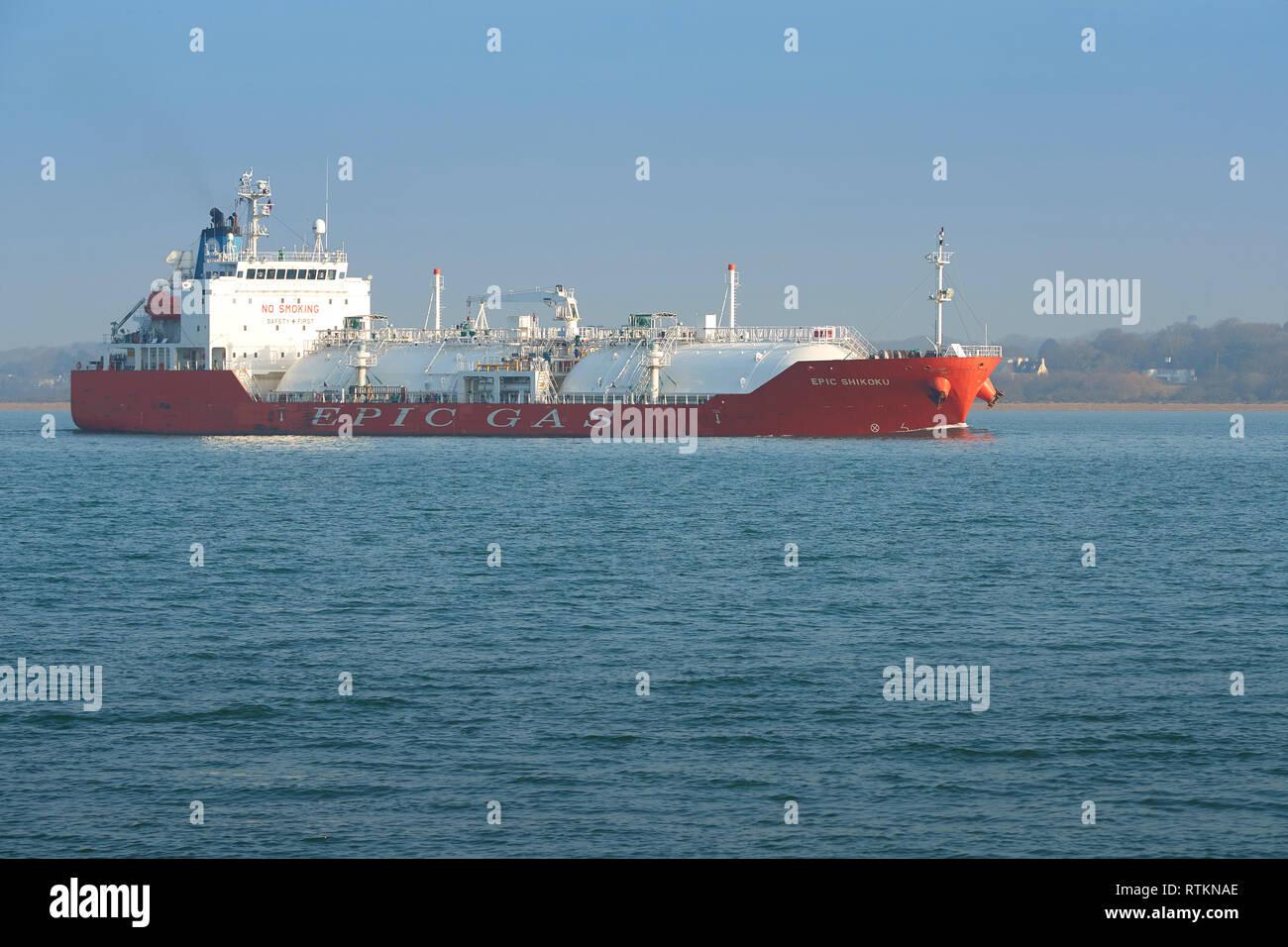 The EPIC SHIPPING CHARTERING PTE, LPG Tanker, EPIC SHIKOKU, Departs