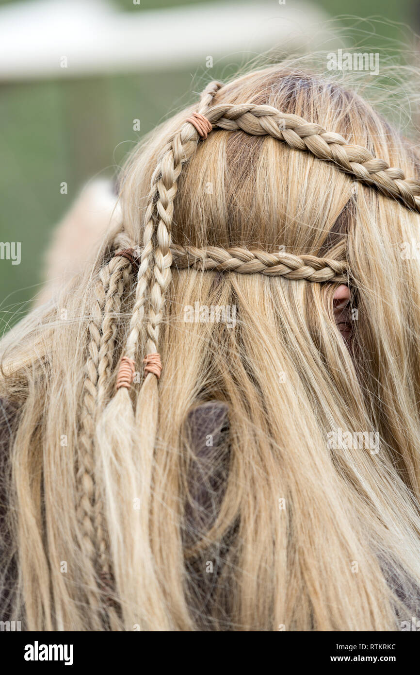 Close up of plaited hair Stock Photo