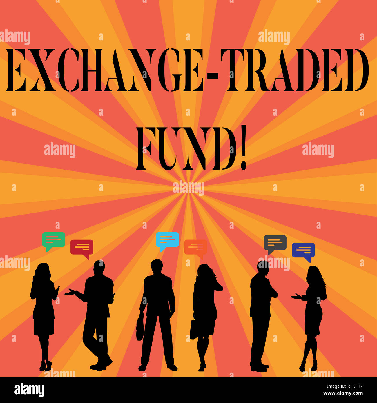 Text sign showing Exchange Traded Fund. Conceptual photo Marketable security that tracks a stock index Stock Photo