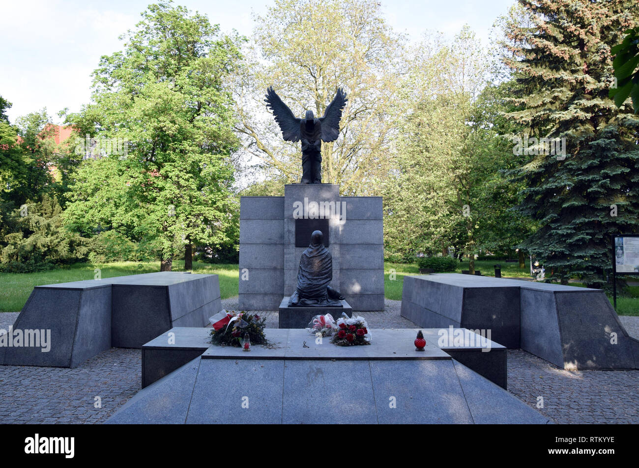 Wroclaw, Poland - May 2017: Monument to the Victims of the Katyn Massacre. Wroclaw, Poland. - Stock Image