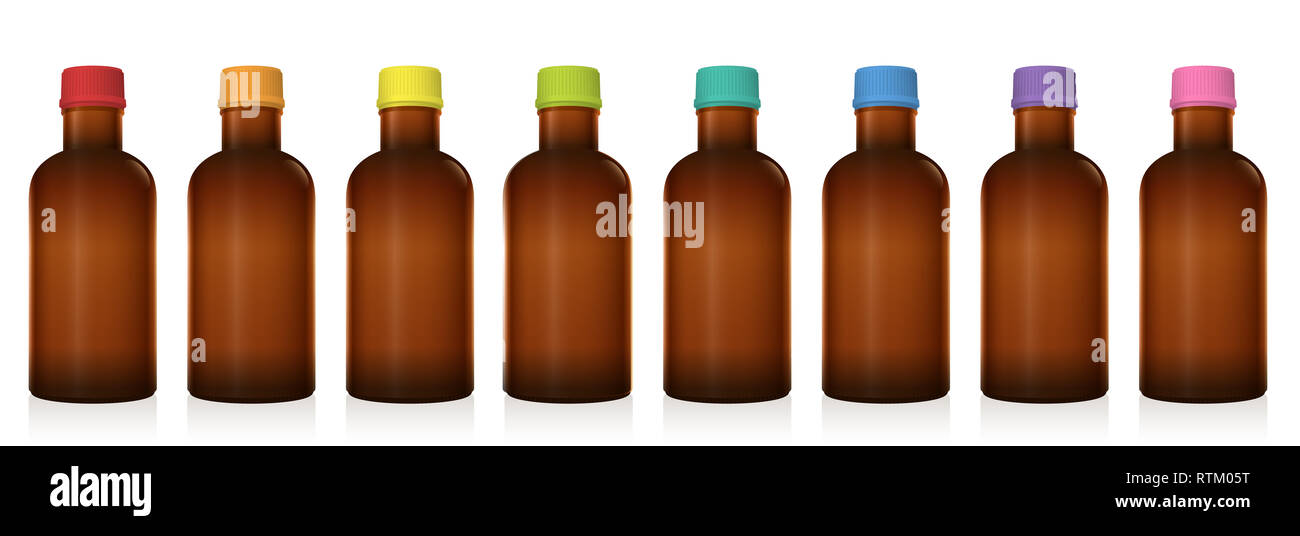Medicine phials. Set of different pharmaceutical bottles with colored plastic screw caps. Unlabeled vials for pills, tablets, capsules, globuli. - Stock Image