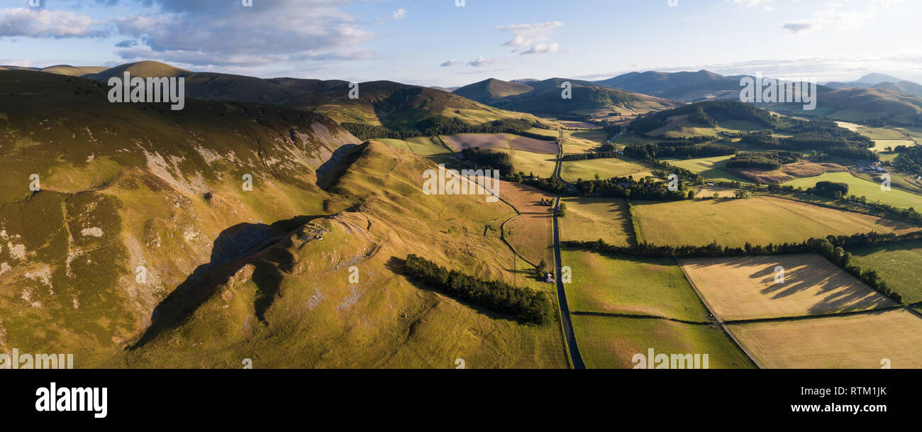 A panoramic image showing Tinnis Castle an Iron Age Hill Fort in the Upper Tweed Valley in the Borders Region of Southern Scotland. Stock Photo
